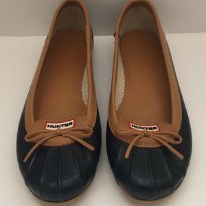 Hunter Jaylen Flats Blue rubber shoes Sz 10